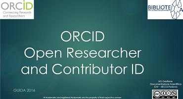 Orcid e sincronizzazione con Researcher ID e Socupus ID