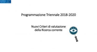 Nuovi criteri di valutazione della Ricerca Corrente 2018-2020